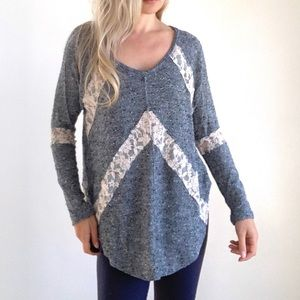 Free people Blue Cream Lace Panel Sweater Large
